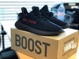 Adidas Yeezy Boost 350 V2 Core Black/Red - Size 9.5 UK - Genuine w/receipt