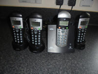 SET OF 4 BINATONE CORDLESS PHONES IN VGC, WITH ANSWER MACHINE ETC