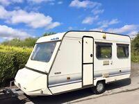 Adria Optima 4 Berth Caravan With Optional Fixed Bed - Lightweight Caravan