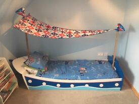 Kids Pirate Bed with mattress, pillows, sheets, covers, duvet and matching pirate light shade