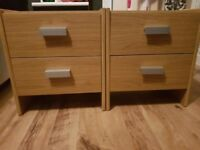 Set of two bedside drawers