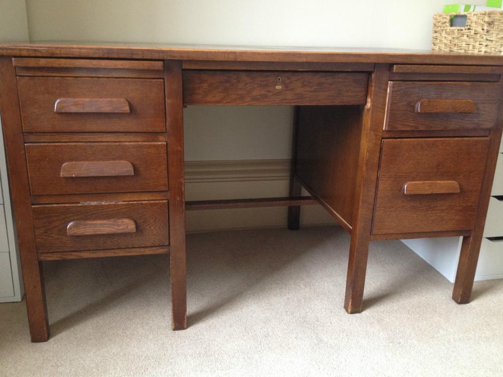 Vintage Oak Desk Teacher S 1950 Solid Large Home