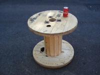 Wooden Reclaimed Industrial Cable Reel/Drum,Table,60 cm x 53 cm Upcycled/Craft project.