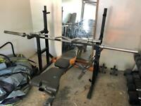Olympic weight set with bars and squat etc