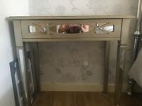 Beautiful silver shabby chic dressing table with glass top