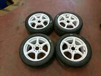 """4x 15"""" Alloy Wheels & Track Tyres 4x100/4x108 Fitment"""