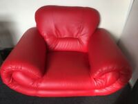 Single leather red armchair