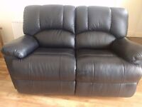 Black Leather Recliner 2 piece sofa suite (3 seater and 2 seater ) Great Condition - almost like NEW