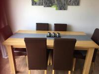 Oak table x 6 chairs
