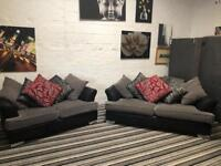 Gorgeous grey and black fabric sofa set