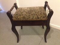 Vintage Antique Piano Stool Made of Hardwood or Dressing Table Stool Solid and Sturdy in VGC