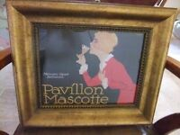 FRAMED FRENCH PRINT OF A LADY DRINKING & IT HAS PAVILLON MASCOTTE WRITTEN ON IT GOOD CONDITION £28