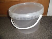 JOB LOT!! Thrace Clear Buckets with Handles and Lids 5L approx 350+
