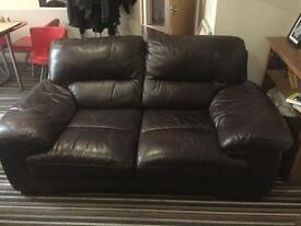 Brown Leather 2 Seater Sofa Setee