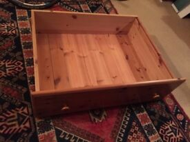 Pine under bed drawer on wheels