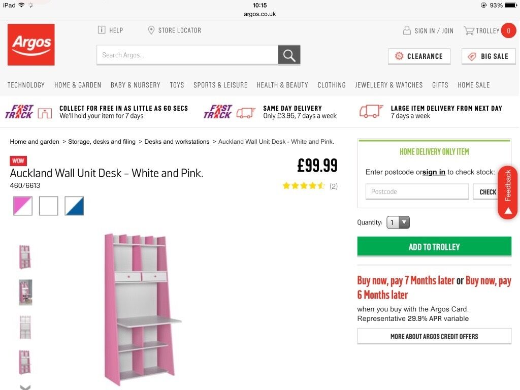Brand New Auckland Wall Unit Desk - Pink and White   in Truro ...