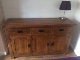 Oak furnitureland- side board/ tv side board and 3-small tables
