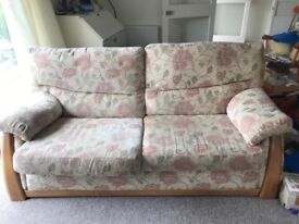3 Seater Floral Sofa - 2nd hand, removable covers, wooden base