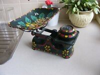 Vintage kitchen scales with barge art.