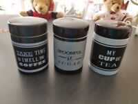 TEA, COFFEE & SUGAR CANISTERS - LINEA (BLACK & GREY)
