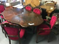 VERY NICE FLEUR DE LYS TABLE WITH SIX CHAIRS