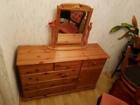 Solid pine bedroom unit worn mirror