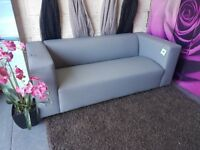 Clarke 3 seater faux leather sofa in grey