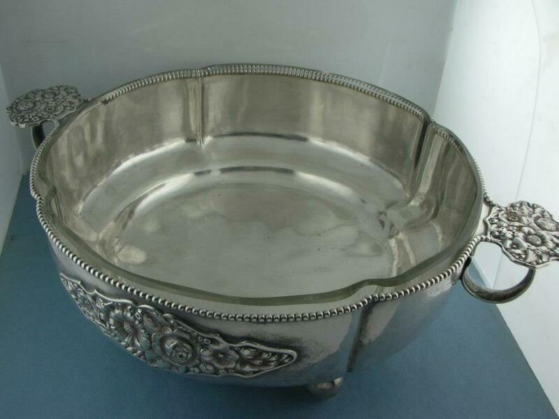 800 Silver & Glass WALLERSTEIN Lg Serving Dish Bowl w/ Floral Repousse - Germany