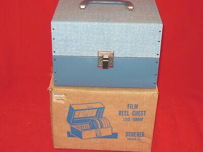 Vintage SCHERER Film Reel Chest W/ Original Box & Label 8mm Film Metal CLEAN!