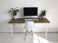 ARTEMIS Handmade White Hairpin Leg Desk and Chair Workstation Study Table Industrial Free Delivery