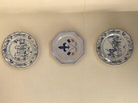 Three French China decorative plates