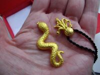 TWO New 24ct gold pendants snake + octopus Hallarked, Scrap value £195 or so. pendant jewellery