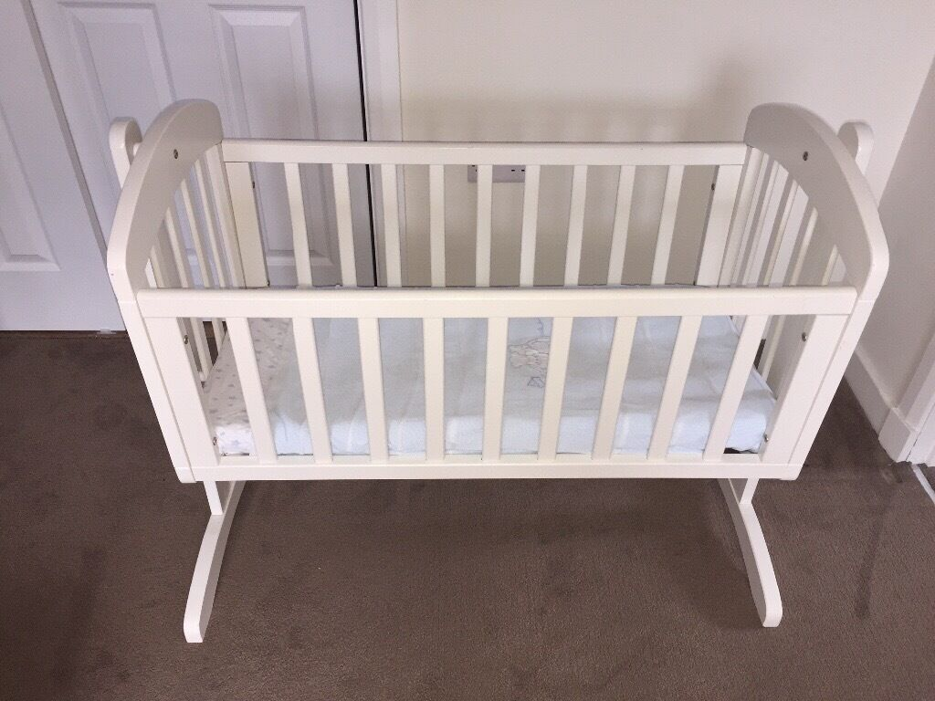 Mamas and papas white crib and mattress and Ikea white cot and mattress , immaculate, hardly used