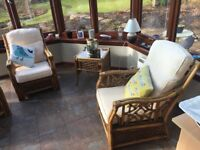 Set of 4 conservatory armchairs, nested tables & occasional table