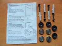 Four 4 Wall Mirror Fixings Fixing Kit Set. Screw Caps Covers. 2 Sets Available