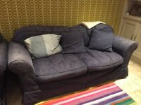 Sofa- navy 3 seater and cuddle armchair