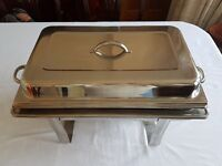 Chafing dishes stainless steel vgc set of two complete with burners & gel.