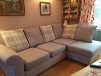 DFS corner sofa. Blue grey. 1 year old. Excellent condition