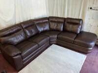 Brown leather right handed corner sofa