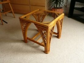 Small glass and bamboo coffee table