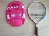 """Babolat 19"""" (to approx 4 years) children's tennis racquet with cover"""