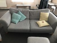 2 seater sofa, 1 armchair and foot stool with storage