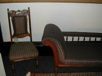Beautiful Edwardian hand carved Chaise Loungue with two matching chairs