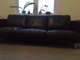 3 Seat Black Sofa (Italian leather)