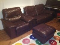 All leather 2 seat sofa, armchair and footstool with electric recline