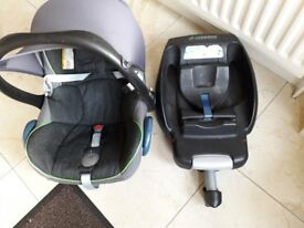 Icandy pear double pram, car seat & isofix base