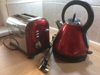 Kettle & matching Toaster (Russell Hobbs Dark Red kettle & 2 slice toaster