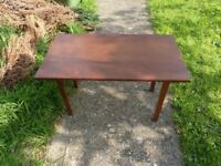 small wooden table, tropical woods, 70 years old