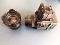BRONICA SQ-A ZENZA 6X6 MEDIUM FORMAT CAMERA WITH 80MM AND 40MM LENS + POLAROID BACK