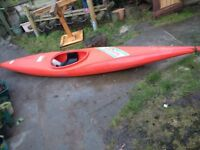 Red kayak, used condition buyer to accept sold as seen.